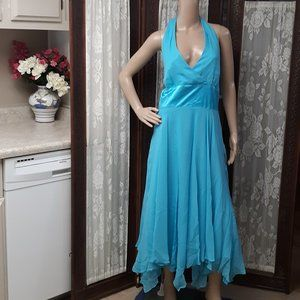 Donna Ricco VTG Silk Blue Lagoon Halter Dress NWT